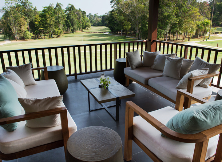 An outdoor seating arrangement at The Hornbill Cafe at The Els Club Malaysia - Teluk Datai