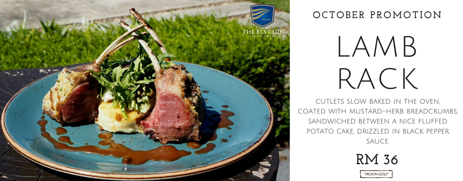 A flyer for an October Promotion for Lamb Rack at The Els Club Malaysia - Teluk Datai