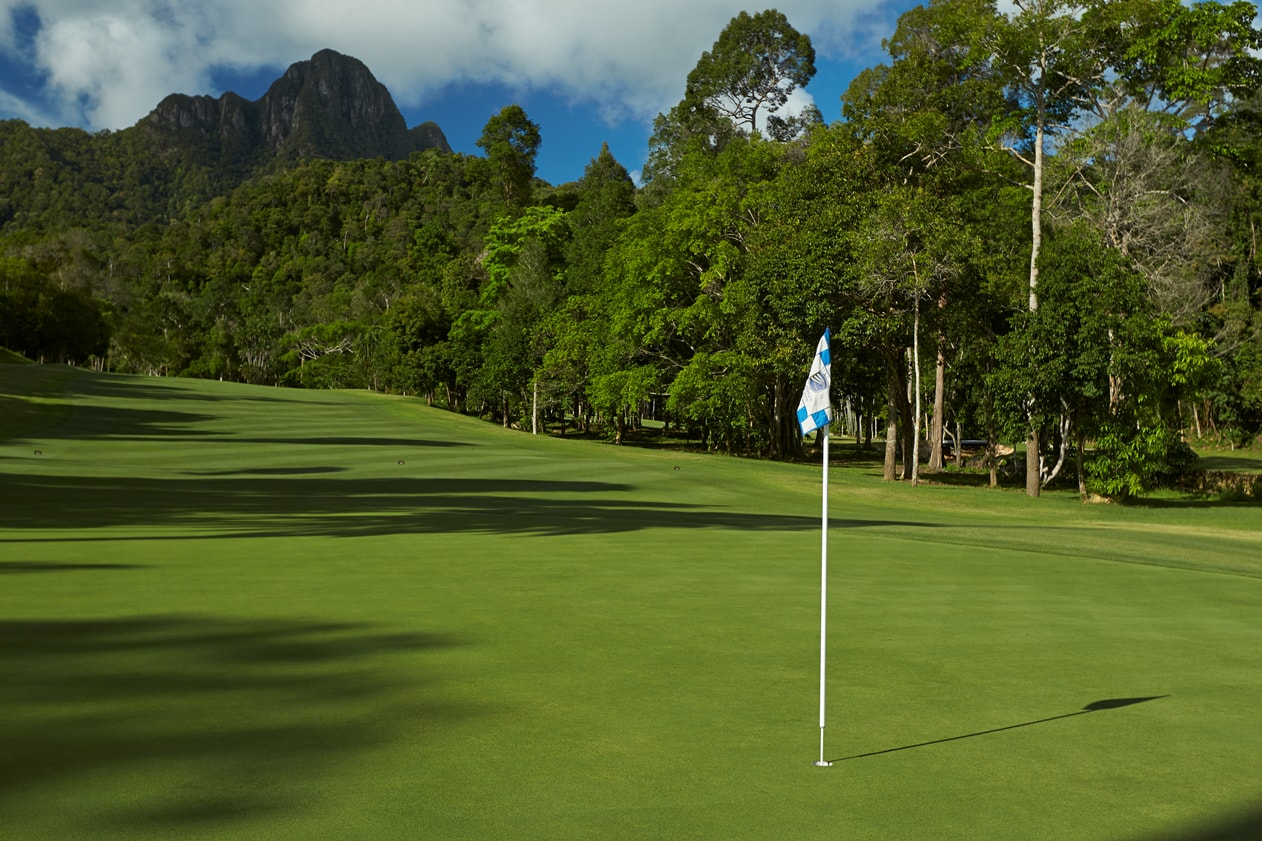 Closeup of the greens for one of the holes at the Rainforest Courrse at The Els Club Malaysia - Teluk Datai